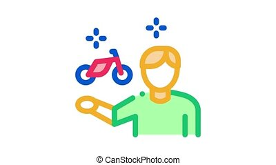 desire man to rent bike Icon Animation. color desire man to rent bike animated icon on white background