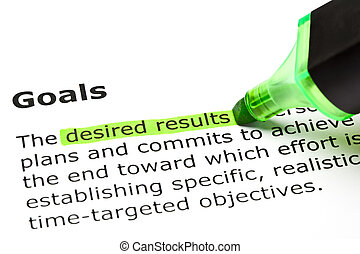 'Desired results' highlighted in green, under the heading 'Goals'