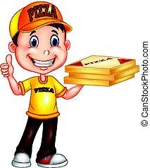 desistimiento, entrega, pulgares, hombre, caricatura, pizza