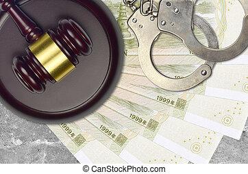 desk., action éviter, chinois, 1, factures, impôt, menottes, yuan, concept, bribery., juge cour, procès, judiciaire, marteau, ou, police