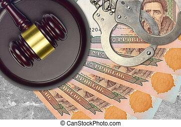 desk., action éviter, factures, impôt, menottes, concept, procès, bribery., 100, juge cour, judiciaire, ukrainien, hryvnias, marteau, ou, police