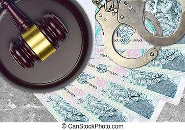 desk., action éviter, factures, impôt, menottes, concept, procès, bribery., 100, juge cour, judiciaire, tchèque, korun, marteau, ou, police