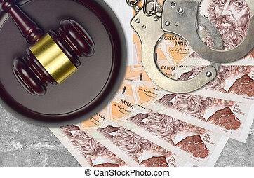 desk., action éviter, factures, impôt, menottes, concept, procès, bribery., tribunal, ou, juge, judiciaire, tchèque, korun, marteau, 200, police