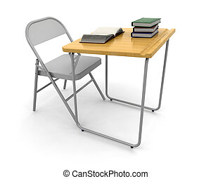 Desk and chair - 3D render of a desk and chair with a stack...