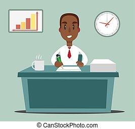 desk., apartamento, ilustração, africano, trabalhando, escriturário, americano preto, pessoa, ou, escritório, homem negócios
