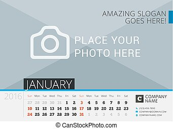 Desk Calendar 2016. Vector Print Template with Place for Photo. January. Week Starts Sunday