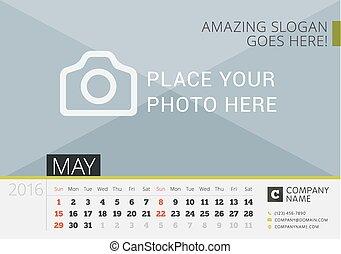 Desk Calendar 2016. Vector Print Template with Place for Photo. May. Week Starts Sunday