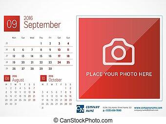 Desk Calendar 2016. Vector Print Template. September. Week Starts Monday