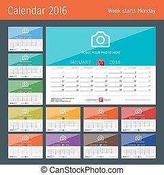 Desk Calendar 2016. Vector Print Template. Week Starts Monday