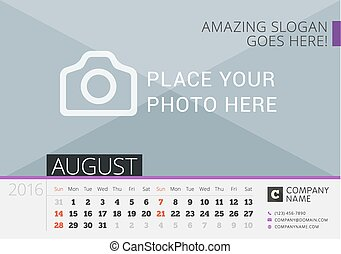 Desk Calendar 2016. Vector Print Template with Place for Photo. August. Week Starts Sunday