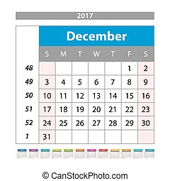 Desk Calendar for 2017 Year. December. Vector Design Print Template with Place for Photo. Week Starts Monday