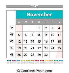 Desk Calendar for 2017 Year. November. Vector Design Print Template with Place for Photo. Week Starts Monday
