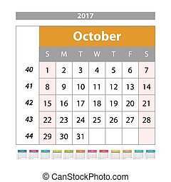 Desk Calendar for 2017 Year. October. Vector Design Print Template with Place for Photo. Week Starts Monday