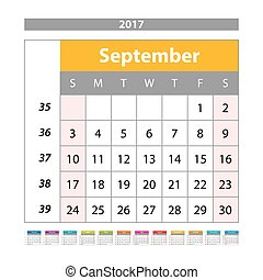 Desk Calendar for 2017 Year. September. Vector Design Print Template with Place for Photo. Week Starts Monday