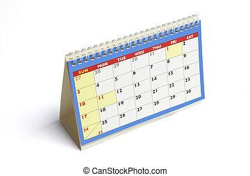 Desk Calendar on Isolated White Background