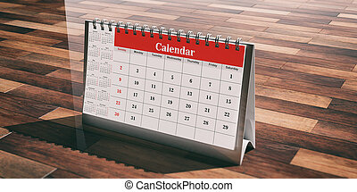 Desk calendar on wooden background. 3d illustration