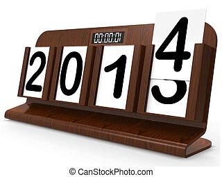 Desk Calendar Represents Year Two Thousand Fourteen - Desk...
