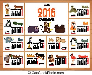 desk calendar vector print template with zoo animals. Cartoon design calendar for children. Vector illustration.