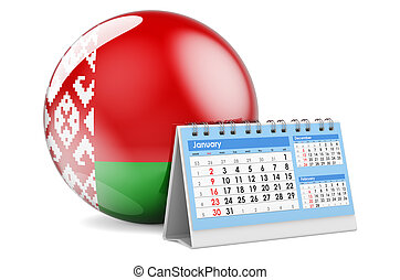 Desk calendar with Belarusian flag. 3D rendering isolated on white background