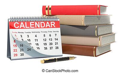 Desk Calendar with books, 3D rendering