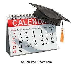 Desk Calendar with graduation cap, 3D rendering