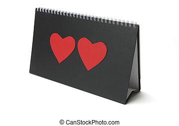 Desk Calendar with Heart Symbols