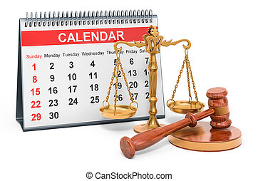 Desk calendar with wooden gavel and scales of justice. 3D ...