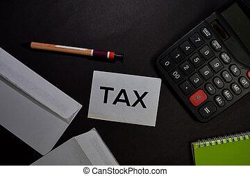 desk., collant, écrire, impôt, note, isolé, bureau