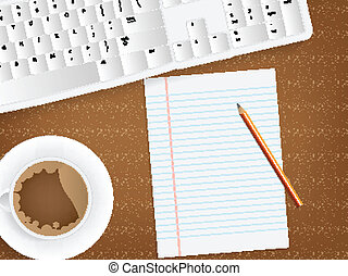 Desk concept with a blank paper