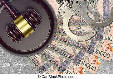 desk., dollars, procès, impôt, guyanese, action éviter, juge cour, marteau, police, concept, ou, judiciaire, 1000, menottes, factures, bribery.