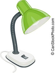 Desk electric lamp with green cap. Lighting domestic device...