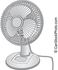 Desk Fan - Illustration of a white desk fan.