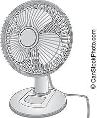 Illustration of a white desk fan.