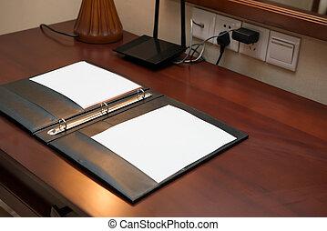 desk in a hotel room