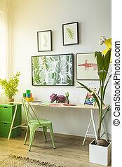 Desk in children's room