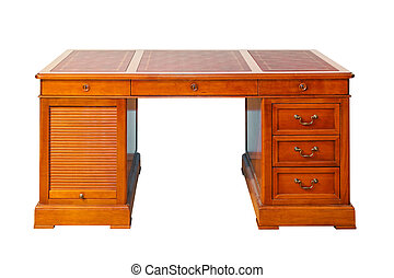 Desk isolated - Antique wooden desk isolated included ...