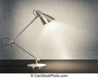 Desk lamp - 3D image of metal desk lamp on wooden desk next ...