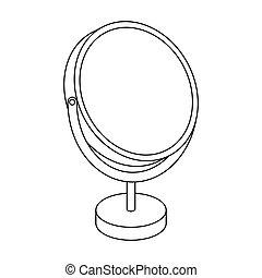Desk mirror. Barbershop single icon in outline style vector symbol stock illustration web.