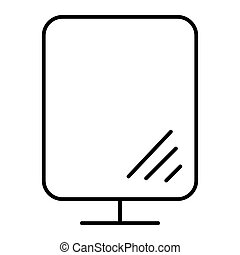Desk mirror thin line icon. Makeup mirror illustration isolated on white. Glass outline style design, designed for web and app. Eps 10.