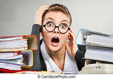 desk., paniqué, secrétaire