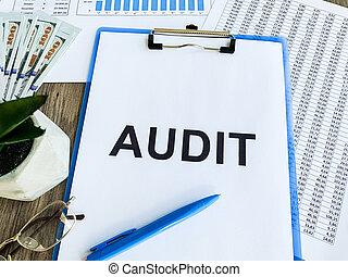 desk., presse-papiers, texte, bois, audit