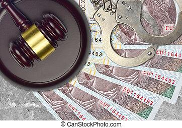 desk., procès, polonais, impôt, 10, action éviter, juge cour, marteau, police, concept, ou, judiciaire, menottes, zloty, factures, bribery.