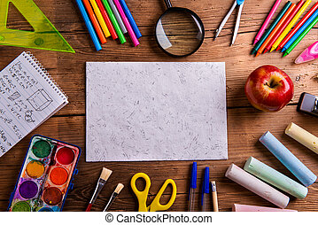 Desk, school supplies, empty paper, wooden background - Desk...