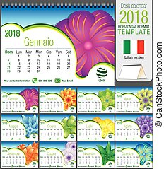 Desk triangle calendar 2018 template with abstract floral...