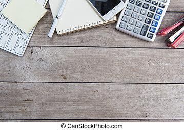 Desk with a calculator