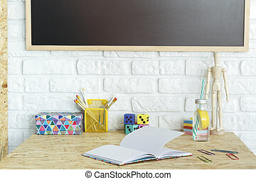 Desk with accessories