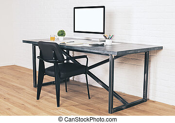 Desk with black chair side
