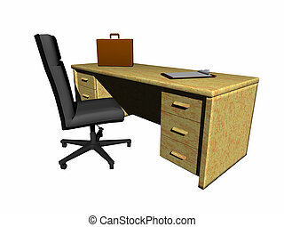 Desk with chair. - A desk with chair and briefcase. Bryce...