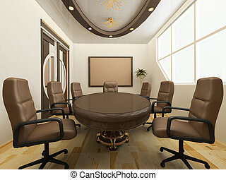 Desk with chairs in office interior. Workplace