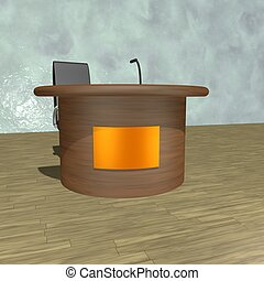 Desk with microphone, 3d render, square image